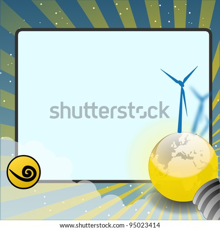 movie screen with world and wind turbines