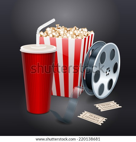 Movie showing with Popcorn, film reel and drinks. vector - stock vector