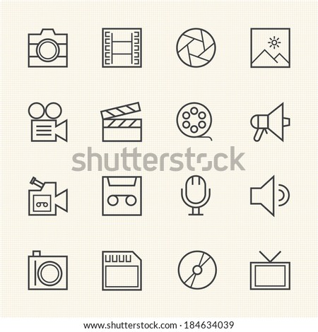 Movie technology icons. Line icon - stock vector