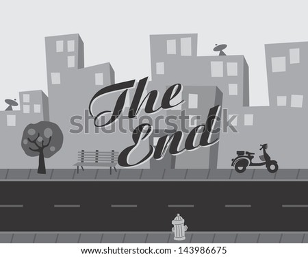 movie the end title screen - stock vector