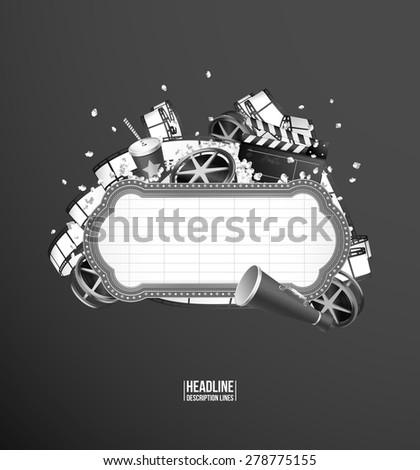 Movie theme composition. Black & White - stock vector