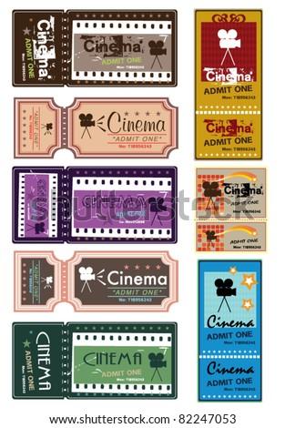 Movie Ticker Set - stock vector