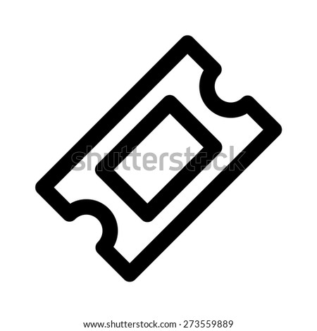 Movie ticket or theater ticket line art icon for apps and websites - stock vector