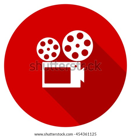 movie vector icon, red modern flat design web element - stock vector
