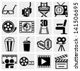Movie vector icon set on gray - stock vector