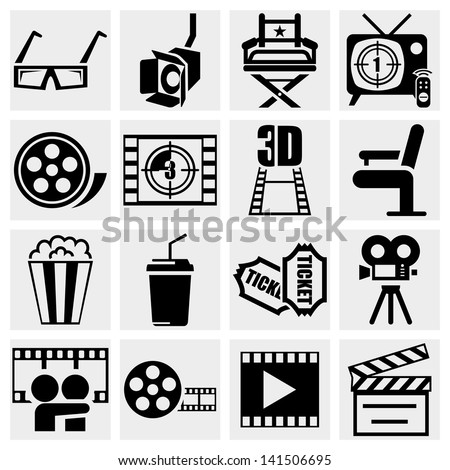 Movie vector icon set on gray - stock vector