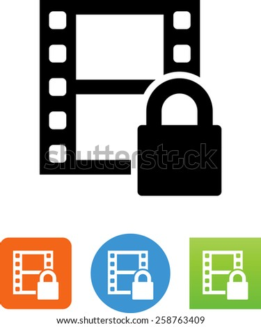 Movie with DRM protection. Vector icons for video, mobile apps, Web sites and print projects. - stock vector