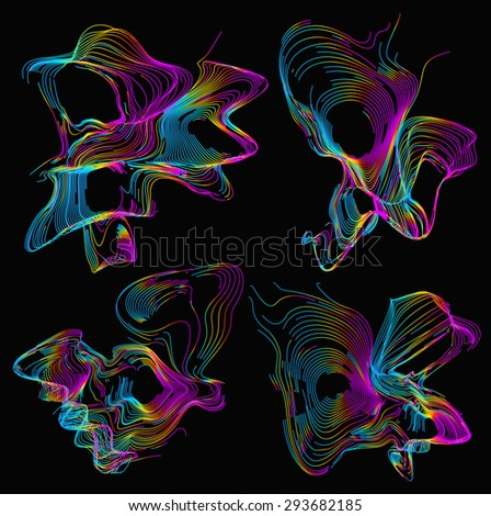 Moving colorful lines of abstract background - stock vector