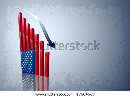 Moving down chart American flag. All elements are layered separately in vector file. - stock vector