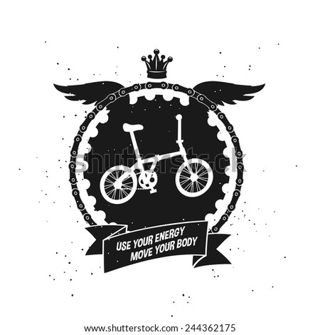 moving faster folding bike, emblem label with silhouetted wings, chain and a crown, decorative element vector art illustration. - stock vector