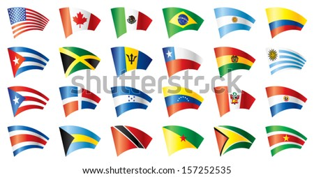 Moving flags set - America. 24 flags. JPEG version - stock vector