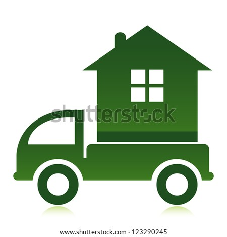 Moving home concept. A truck transporting a house. - stock vector