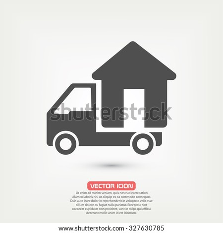 Moving home concept. A truck transporting a house, icon, vector - stock vector