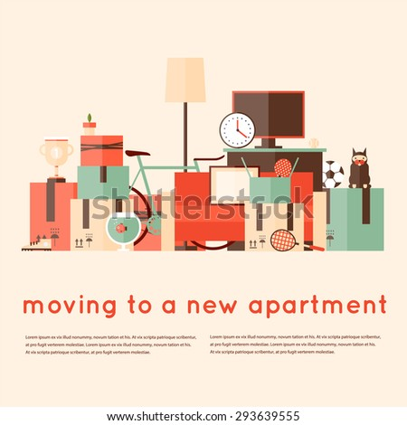 Moving into a new apartment. A bunch of things. Flat style vector illustration. - stock vector