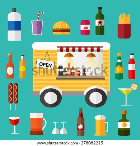 moving little bar with foods and beverage illustration, vector  - stock vector