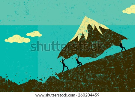 Moving Mountains Businessmen moving a mountain uphill. The men & mountain and background are on separate labeled layers. - stock vector