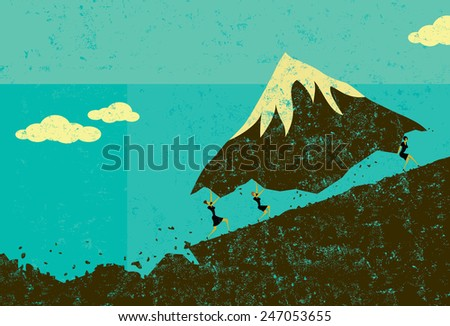 Moving Mountains Businesswomen moving a mountain uphill. The women & mountain and background are on separate labeled layers. - stock vector