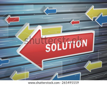 moving red arrow of solution word on abstract high-tech background - stock vector