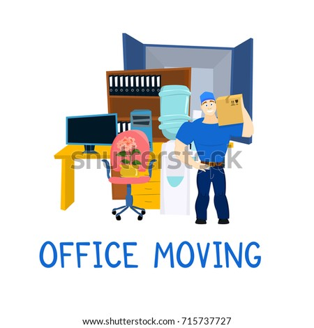 Moving Service Guy With Furniture And Truck Vector Illustration EPS10