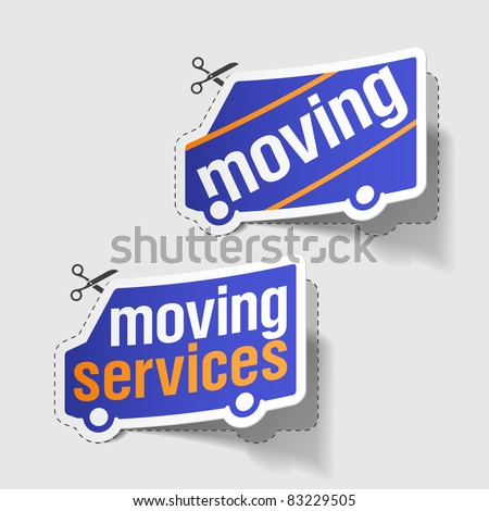 Moving services labels. Vector. - stock vector