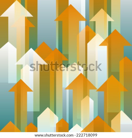 moving up orange white blue transparent arrows - stock vector
