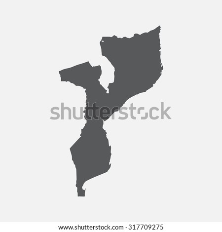 Mozambique country border map