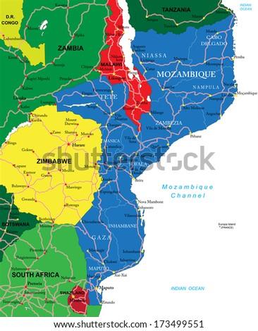 Mozambique map - stock vector