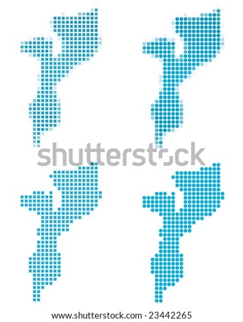 Mozambique map mosaic set. Isolated on white background. - stock vector