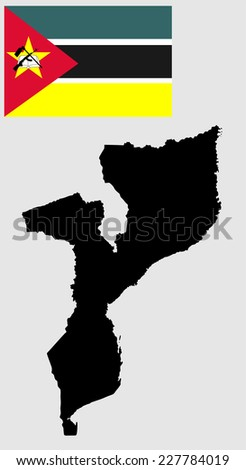 Mozambique vector map and vector flag isolated on background. High detailed silhouette illustration. - stock vector