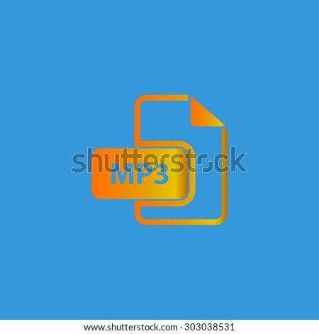 MP3 audio file extension. Flat web icon or sign isolated on grey background. Collection modern trend concept design style vector illustration symbol - stock vector