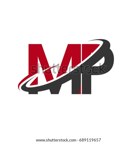 Mp Initial Logo Company Name Colored Stock Photo Photo Vector