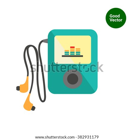 Mp3 player headphones - stock vector
