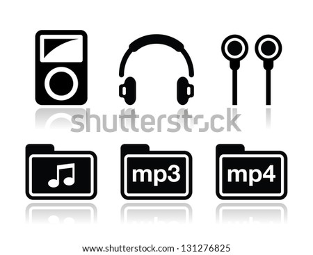 Mp3 player vector icons set - stock vector