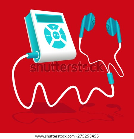 Mp3 player white blue with earphone - stock vector