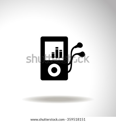 Mp3 player with a headphones vector icon. - stock vector