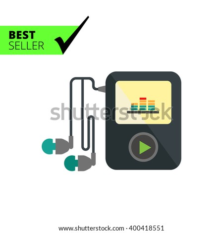 Mp3 player with headphones - stock vector
