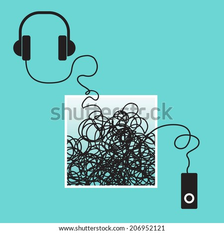 Mp3 player with headphones with a tangle for Print or Web  - stock vector