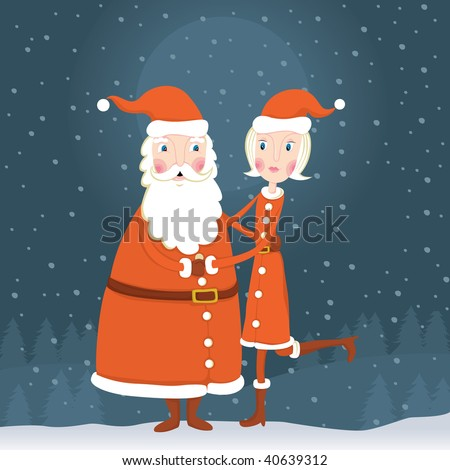 Mr. and Mrs. Santa Claus - stock vector