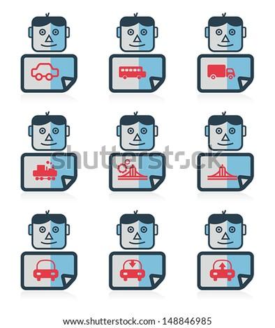 Mr. icon, set of Transportation icon, vector - stock vector