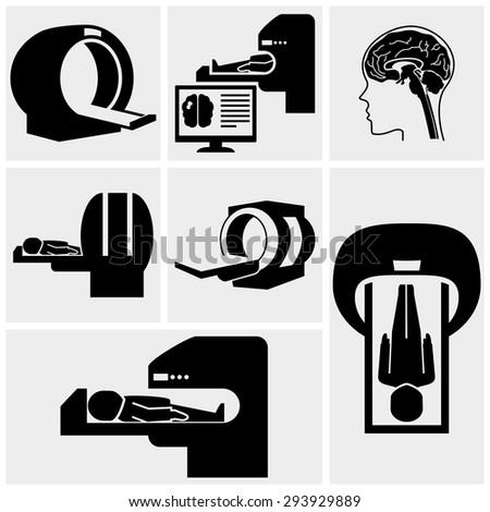 MRI diagnostic vector icons set on gray  - stock vector