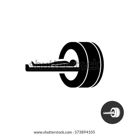 MRI icon. Simple black silhouette symbol of medical MRI procedure. - stock vector