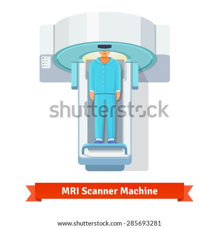MRI, magnetic resonance imaging machine scanning patient inside. Top view. Flat vector icon. - stock vector
