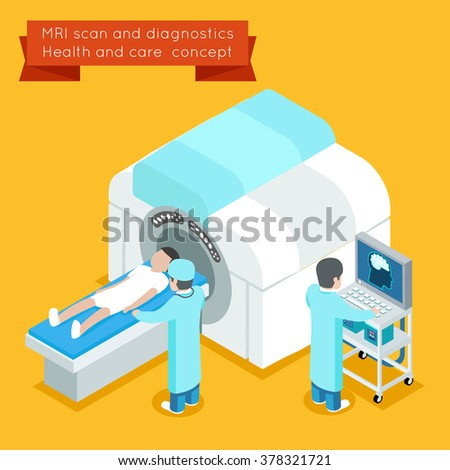 MRI process. 3d isometric health care concept. Medical technology scanner. Vector illustration - stock vector
