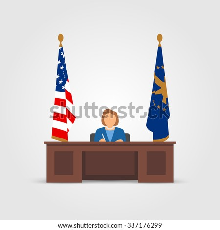 Mrs president in Oval Office in the White House - stock vector