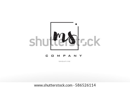 Ms M S Hand Writing Written Black White Alphabet Company Letter Logo Square Background Small Lowercase Design