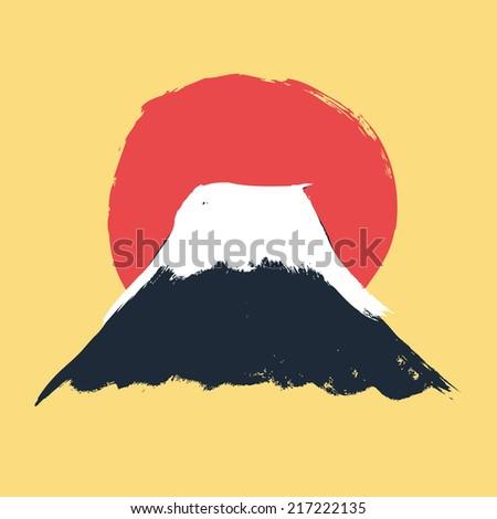 Mt. Fuji in Japan in vector art - stock vector