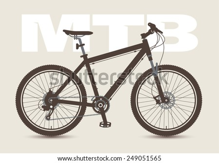 MTB Bicycle isolated and monochrome. - stock vector