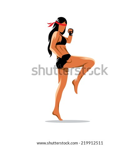Muay Thai boxing sign. Thailand fighter woman kick knee. Asia Martial Arts concept. Kickboxing sport. Branding Identity Corporate vector logo design template Isolated on a white background - stock vector