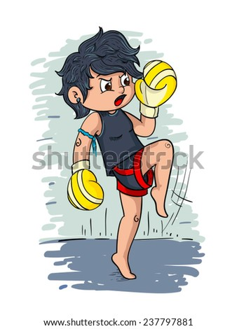 Muay Thai fighter  - stock vector