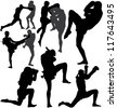 Muay Thai (Thai Boxing) fight and Wai Kru Ram Muay (traditional dance before fight) vector silhouettes. Layered. Fully editable - stock photo